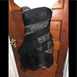 BCBGMAXARIA Black & Nude Runaway Formal  Dress